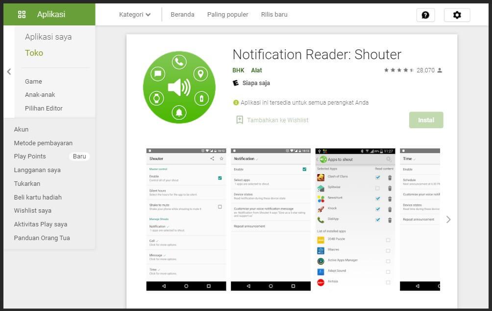 Pilih App Notification Pada Aplikasi Shouter